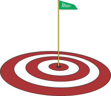 Bullseye circle with a golf pin in the center