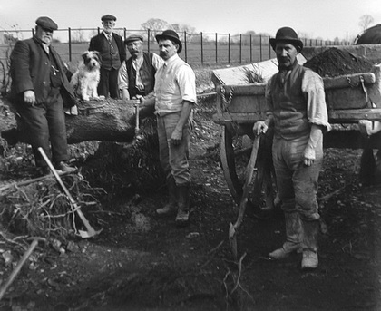 Early 20th century image of men building a golf course in northern minnesota