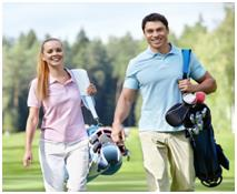 Image of a couple playing golf